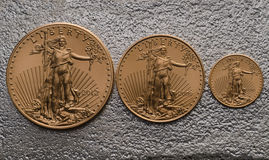 American Gold Eagle Coins (Small, Medium Large) on Silver Bar Royalty Free Stock Images