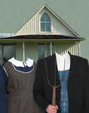 American Gothic Painting Spoof Template. American Gothic spoof template. This is the actual house along with replica clothing and model poses for designers Royalty Free Stock Images