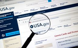 American government site under magnifying glass Stock Images