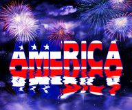 American Graphic reflection in water with fireworks. Text America sits above water with dark skies behind and its reflections in the water.  Fireworks going on Royalty Free Stock Images