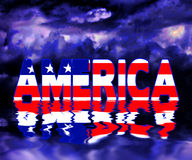 American Graphic reflection in water. Text America sits above water with dark skies behind and its reflections in the water.  Ideal for American holidays Stock Images