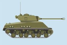 American green medium tank M4 in profile flat Royalty Free Stock Image