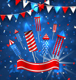 American Greeting Background for Independence Day 4th July Stock Image