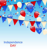 American Greeting Card with Balloons and Bunting Flags Stock Images