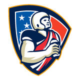 American Gridiron Quarterback Ball Crest. Illustration of an american football gridiron quarterback player holding preparing to throw ball facing front set Royalty Free Stock Image