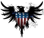 American grunge eagle. Black grunge Eagle with USA flag Royalty Free Stock Image