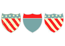 American guide sign. Shield marker in American colors. Vector without gradients stock illustration