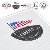 American gun shop set. Firearms store. Hunting gun. Detailed elements. Typographic labels, stickers, logos and badges. Stock Photo