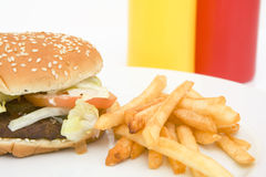 American hamburger with french fries Royalty Free Stock Photography