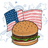 American hamburger vector. Doodle style hamburger with bun and condiments in front of a colorful American flag sketch in vector format Stock Photos