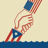 American hand pulling up Puerto Rican hand to safety. Illustration urging hurricane relief for Puerto Rico. American hand pulling up Puerto Rican hand to safety vector illustration
