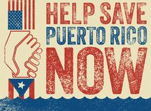 American hand pulling up Puerto Rican hand to safety Stock Images