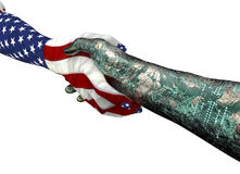 American hand shaking robothand isolated on white Royalty Free Stock Images