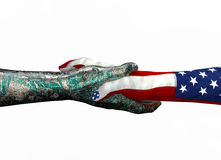 American hand shaking robothand isolated on white Royalty Free Stock Photos