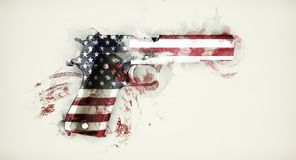 American Handgun Abstract. Handgun painted with american flag isolated on grey background stock illustration