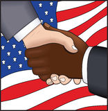 American Handshake. Multi-cultural handshake, change in America, vector based illustration Royalty Free Stock Image