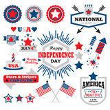 American Happy Independence Day design elements set Royalty Free Stock Images