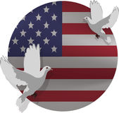 American. Happy independence day American flag, doves Royalty Free Stock Image