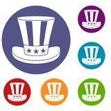 American hat icons set Royalty Free Stock Image