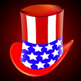 American hat on a red background. Vector art illustration Stock Photography