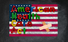 American Health Care Act illustration with US flag Royalty Free Stock Photography