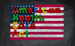 American Health Care Act illustration with US flag Stock Photos