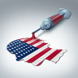 American Health Care. Concept as a syringe releasing liquid shaped as a human head and flag of the United States as a government legislation and healthcare Stock Images