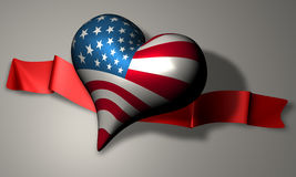 American Heart. Illustration of a heart with the American flag on it stock illustration