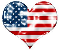 American Heart Flag. With lumps and bevel Vector Illustration