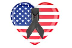 American heart with mourning ribbon, 3D Royalty Free Stock Image