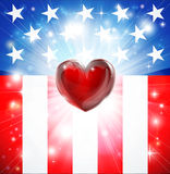 American Heart Patriotic Background. American flag patriotic background with heart, concept for love of country. Great for 4th of July or military themes Royalty Free Stock Photography