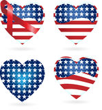 American Hearts with Ribbons Royalty Free Stock Images