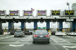 American highway toll plaza New York USA Royalty Free Stock Image