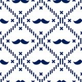 American Hipster Mustache Tartan Plaid and Argyle Vector Patterns in Patriotic White and Blue. 4th of July or Father`s Day royalty free illustration