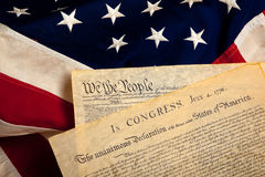 American historic documents on a flag. United States' Constitution and Declaration of Independence on a flag background Royalty Free Stock Photography