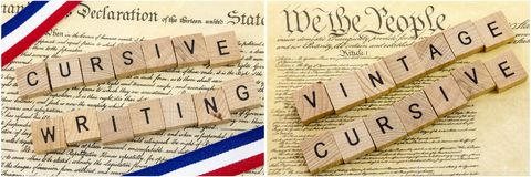 American historical documents cursive. USA American government constitution declaration of independence America history red white blue banner vintage cursive Royalty Free Stock Images