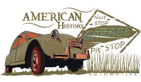 American history. Old car with text vector format Stock Photo