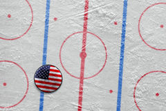 American hockey puck on the site Stock Images