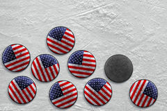 American hockey pucks Royalty Free Stock Photo