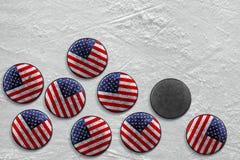 American hockey pucks. Washers lying on a hockey rink. Texture, background Royalty Free Stock Photo