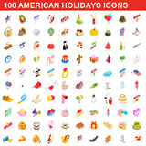 100 American holidays cons set, isometric 3d style. 100 American holidays icons set in isometric 3d style for any design vector illustration royalty free illustration
