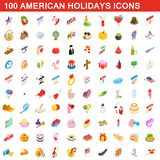 100 American holidays cons set, isometric 3d style. 100 American holidays icons set in isometric 3d style for any design illustration royalty free illustration