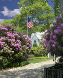 The american home. A home is surronded by beautiful flowers,displaying the american flag with a cobble stone driveway with large green trees in the background Royalty Free Stock Photography