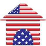 American home. An icon of an american house. colours of the american flag Royalty Free Stock Image