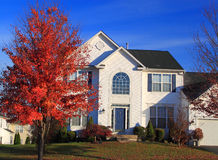 Two Story House Autumn Royalty Free Stock Photos