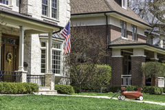 American home with us flag Stock Photos