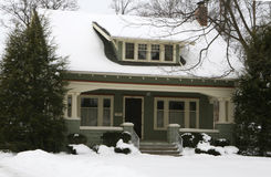 American Home in Winter. Craftsman style American home in Tecumseh Michigan Midwest America on a snowy winters day stock photo
