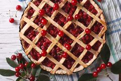 American homemade cherry pie close up. horizontal top view Stock Photography
