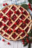 American homemade cherry pie close up. vertical top view Stock Photos