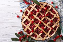 American homemade cherry pie horizontal top view Royalty Free Stock Images